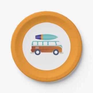 Assiettes En Papier Plaque à papier de planche de surf vintage de