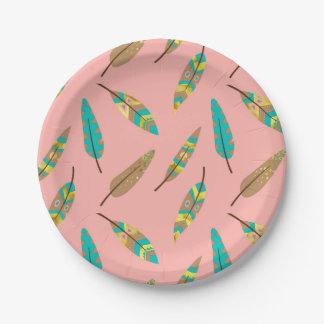 Assiettes En Papier Plaque à papier de plume rose chic tribale de Boho