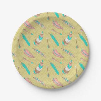 Assiettes En Papier Plaque à papier de plumes chics tribales de Boho