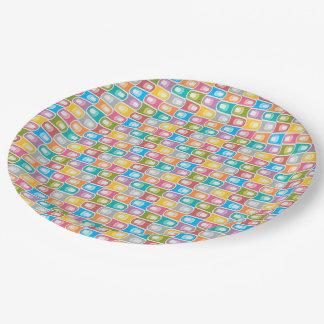 Assiettes En Papier Plaque à papier de rétro abrégé sur bleu