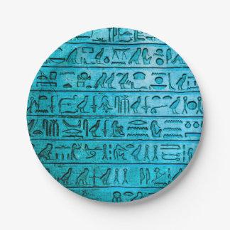 Assiettes En Papier Plaques à papier bleues d'hiéroglyphes égyptiens
