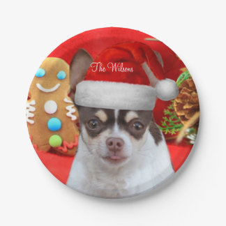 Assiettes En Papier Plaques à papier de chien de chiwawa de Noël