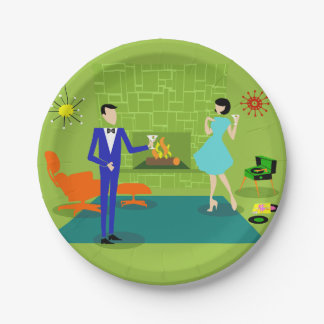 Assiettes En Papier Plaques à papier de couples modernes de la moitié
