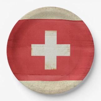 Assiettes En Papier Plaques à papier de drapeau de la Suisse