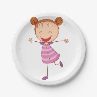 Assiettes En Papier Plaques à papier de fille heureuse
