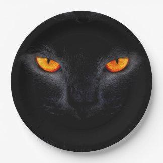 Assiettes En Papier Plaques à papier de Halloween/chat noir