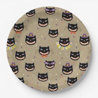 Assiettes En Papier Plaques à papier de Halloween/chats noirs drôles