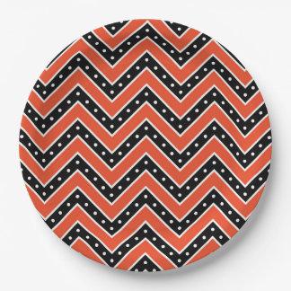 Assiettes En Papier Plaques à papier de Halloween/Chevron orange et
