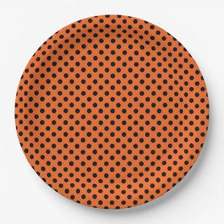 Assiettes En Papier Plaques à papier de Halloween/orange avec le point