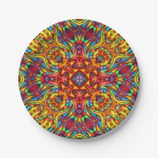 Assiettes En Papier Plaques à papier de kaléidoscope bizarre de Tiki