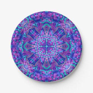 Assiettes En Papier Plaques à papier de kaléidoscope pourpre et bleu