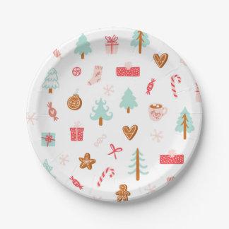 Assiettes En Papier Plaques à papier de motif de vacances d'hiver