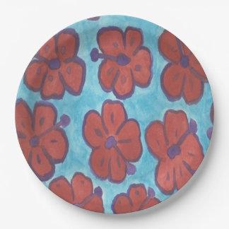 Assiettes En Papier Plaques à papier de motif rouge de ketmie