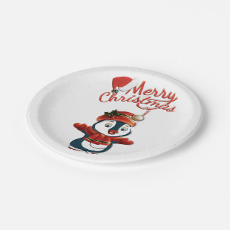 """Assiettes En Papier Plaques à papier de pingouin de Noël 7"""""""