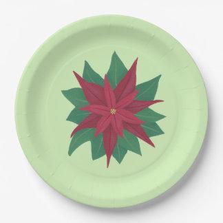 Assiettes En Papier Plaques à papier de poinsettia verte rouge de Noël