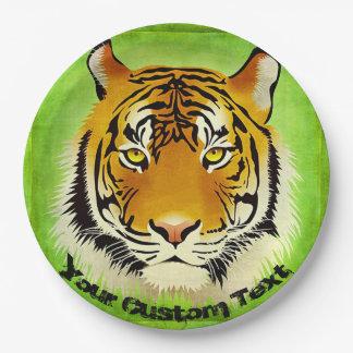 Assiettes En Papier Plaques à papier de tigre vert