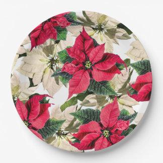 Assiettes En Papier Plaques à papier d'hiver de fleur rouge et blanche