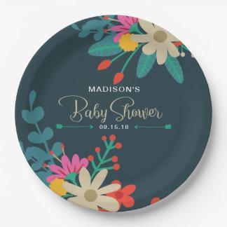 Assiettes En Papier Plaques à papier florales lunatiques pour le baby