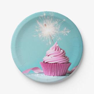 """Assiettes En Papier Plaques à papier orientées de petit gâteau rose 7"""""""