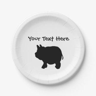 Assiettes En Papier Plaques à papier personnalisées de mini porc noir