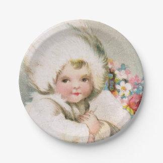 Assiettes En Papier Plat antique de pique-nique de bébé de neige
