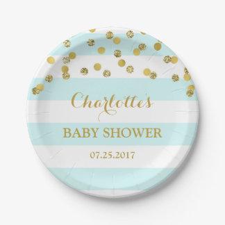 Assiettes En Papier Plat bleu-clair de baby shower de confettis d'or