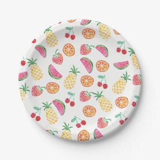 Assiettes En Papier Plat coloré de partie d'aquarelle fruitée