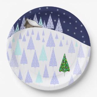 Assiettes En Papier Plat de Noël du pays des merveilles d'hiver