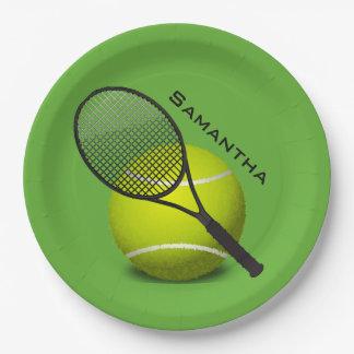 Assiettes En Papier Plat de partie de papier de conception de tennis
