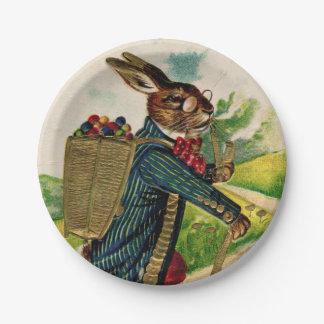 Assiettes En Papier Plat érudit antique de pique-nique de lapin de