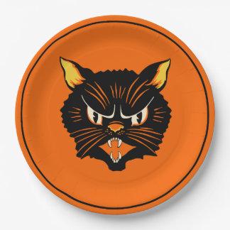 Assiettes En Papier Plat vintage de chat noir de Halloween