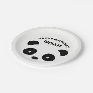 Assiettes En Papier Plats, blanc et noir d'anniversaire de panda