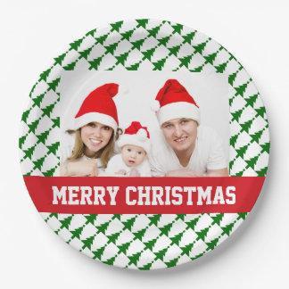Assiettes En Papier Plats de partie de photo de Noël de famille
