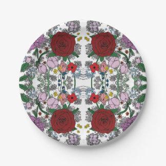 Assiettes En Papier Plats floraux de kaléidoscope
