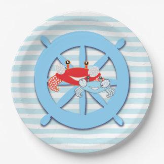 Assiettes En Papier Plats orientés de baby shower de crabes de plage
