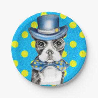 Assiettes En Papier Point de polka de Boston Terrier