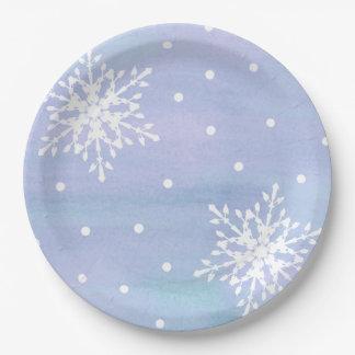 Assiettes En Papier Pois blanc pourpre de flocons de neige de ciel