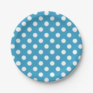 Assiettes En Papier Pois blanc sur l'arrière - plan de bleu de paon
