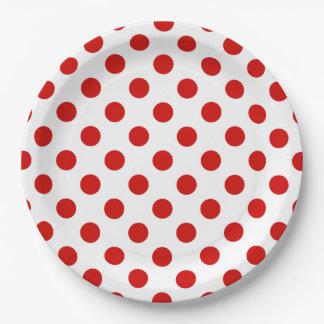 Assiettes En Papier Pois rouge et blanc