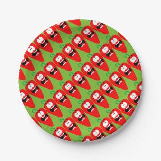 Assiettes En Papier Poivre de piment d'un rouge ardent criard