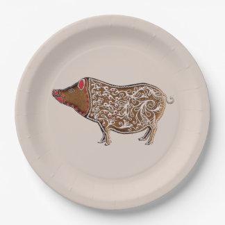 Assiettes En Papier Porc chinois de pain d'épice de zodiaque