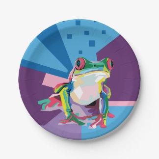 Assiettes En Papier Portrait coloré de grenouille d'arbre