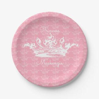 Assiettes En Papier Princesse vintage Rose-n-Blanche Crown Personalize