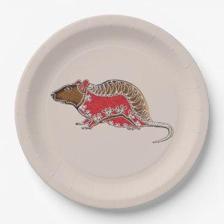 Assiettes En Papier Rat chinois de pain d'épice de zodiaque