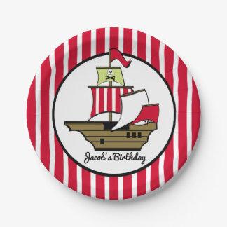 Assiettes En Papier Rayures de rouge de bateau de pirate
