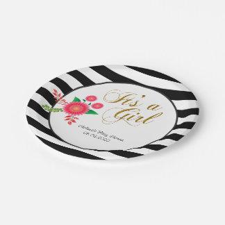 Assiettes En Papier Rayures noires et blanches élégantes avec floral