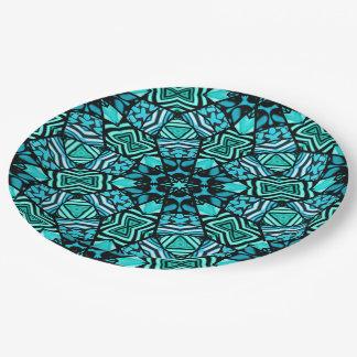 Assiettes En Papier Rétro motif de mosaïque oriental de turquoise