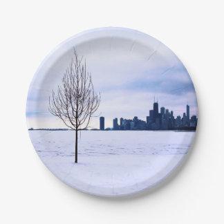 Assiettes En Papier Rêve blanc - hiver Chicago, plaques à papier