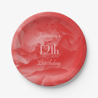 Assiettes En Papier Rose de corail Girly féminin de rose, 12ème