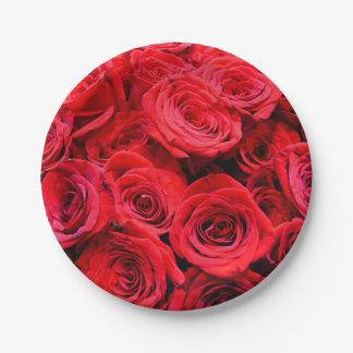 Assiettes En Papier Roses rouges